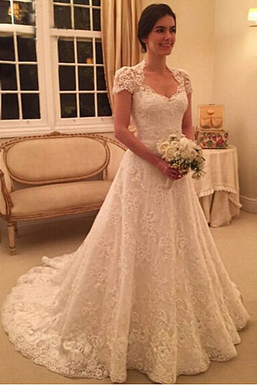 New Arrival Short Sleeve Wedding Dress Sweep-Train Lace Zipper A-line Bridal Gowns