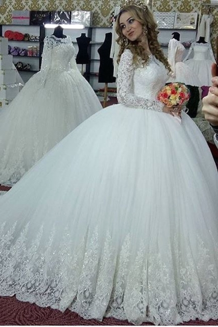 Glamorous Long Sleeves Wedding Dresses | Sparkling Lace Ball Gown Bridal Gowns