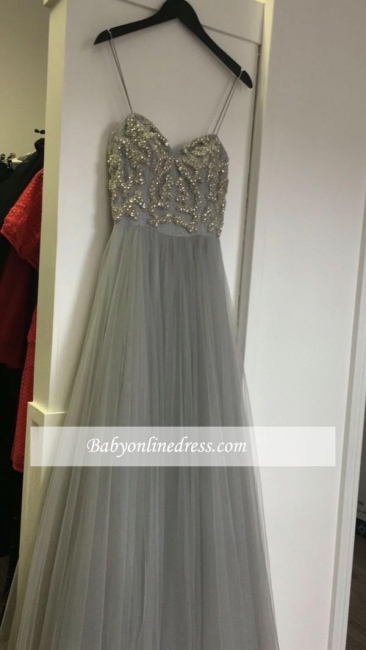 Tulle Sleeveless Spaghetti Strap A-line Prom Dress with Beads