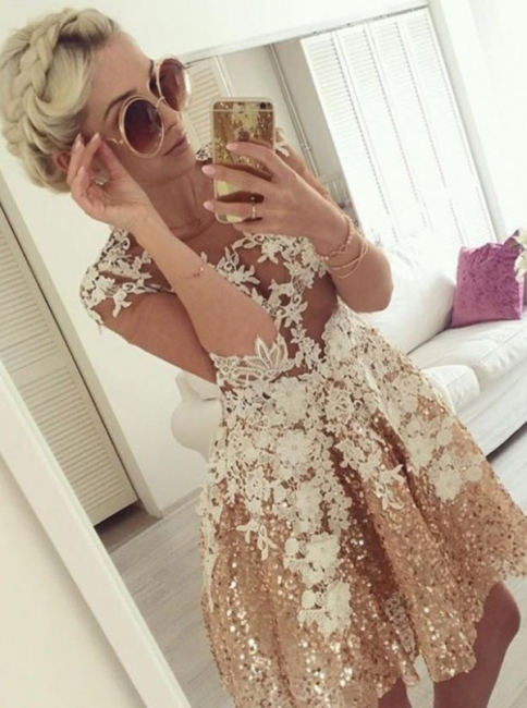 Shiny A-Line Sequins Homecoming Dresses   Scoop Half-Sleeves Lace Cocktail Dresses