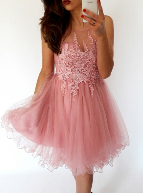 Sexy A-Line Organza Homecoming Dresses | Scoop Sleeveless Lace Cocktail Dresses