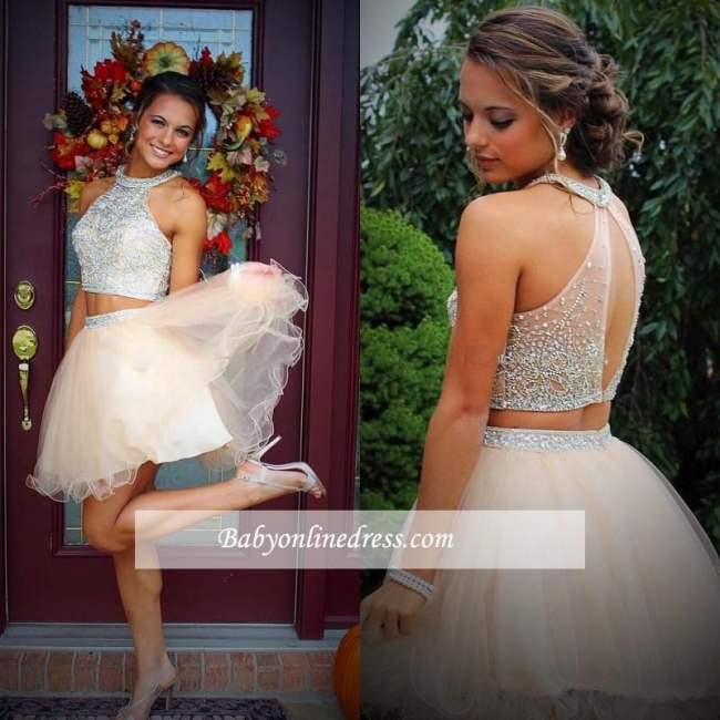 Open-Back Crystals Champagne Discount Two-Piece Organza Short Halter Mini Homecoming Dresses
