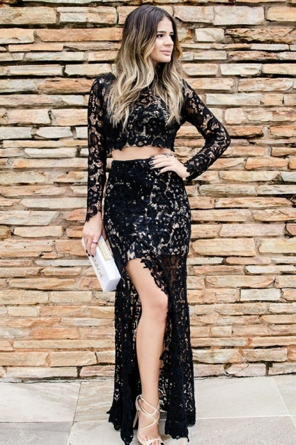 Two Piece Long Sleeves Jewel Side Slit Black Lace Prom Dresses | Modern Party Dresses