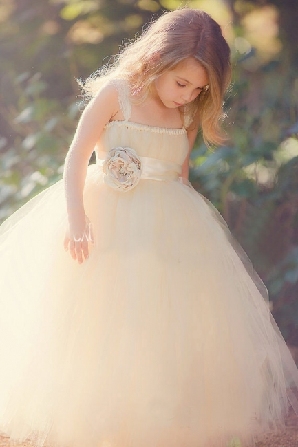 Lace Straps Champagne Tulle Flower Girl's Dresses Bowknot Handmade Girl's Formal Occasion Dresses