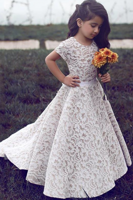 Gorgeous Floor Length Short Sleeves Lace Pageant Dress Flower Girl Dresses