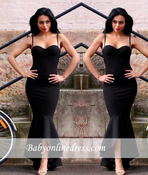 2018 Mermaid Black High-Low Sweetheart Spaghetti Straps Women Dress