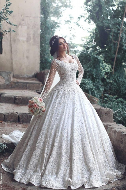 2020 Ball Gown Wedding Dresses Long Sleeves Chapel Train Bridal Gowns with Beadings