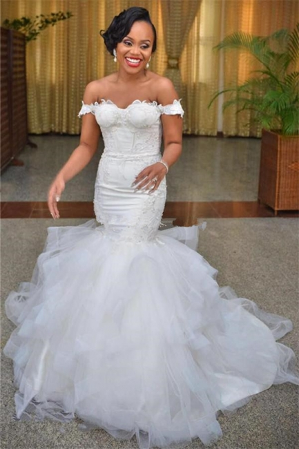 Modest Tulle Off-the-shoulder Short-Sleeve Lace-up Mermaid Lace Wedding Dress