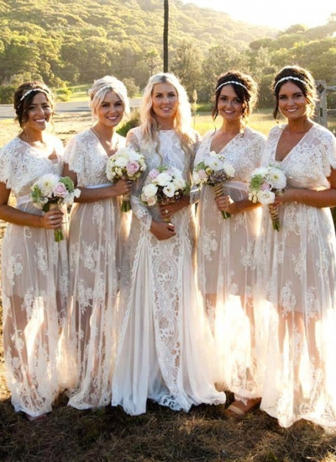 Elegant Capped-Sleeves Sheer Lace V-Neck Long Bridesmaid Dresses