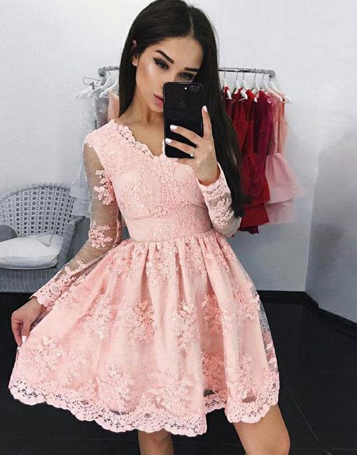 Pink V-neck A-line Long-sleeves Short Lace Cocktail Dress