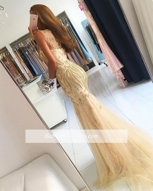 Luxury Beading Mermaid Evening Gowns | Sleeveless Sheer Long Prom Dresses