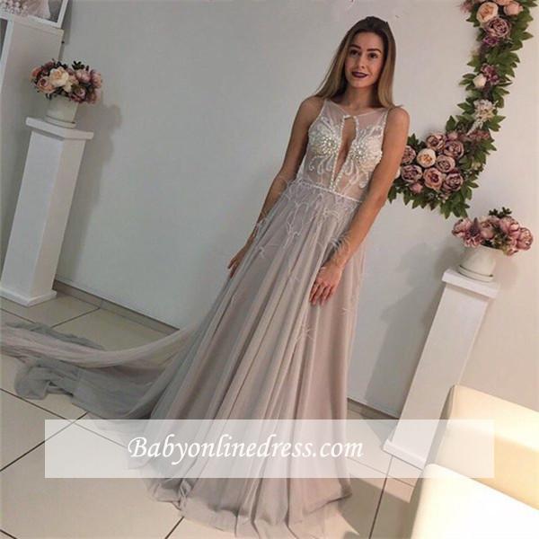A-Line Elegant Court-Train Sleeveless Crystal Evening Dress