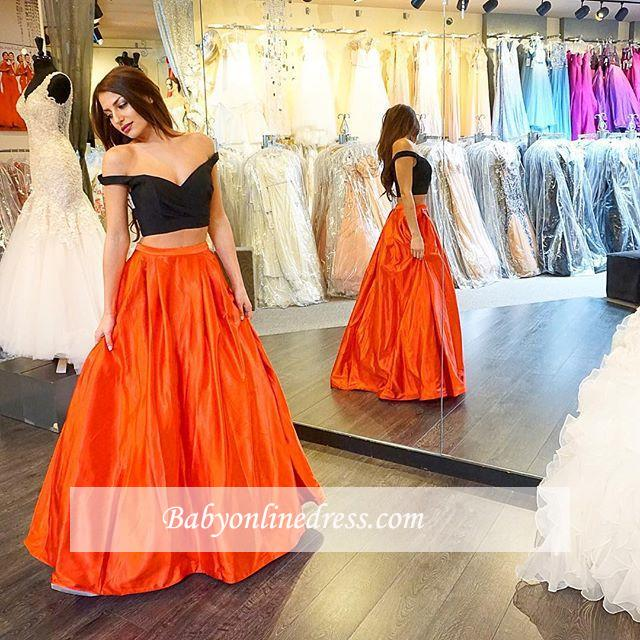 Sexy Two Piece A-line Off-the-shoulder Long Prom Dress