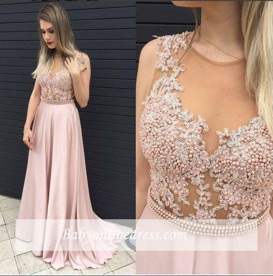 Pink Sleeveless Long Prom Dresses 2018 Pearls A-line Evening Gowns