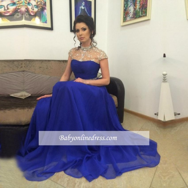 Royal-Blue High-Neck Prom Dress 2018 A-Line Short-Sleeves Evening Gowns with Beadings