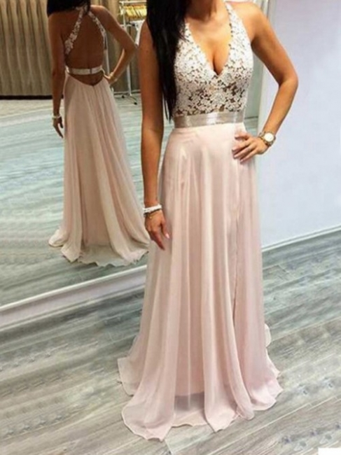 Sleeveless Halter Long Chiffon Lace Open-Back V-Neck Prom Dresses