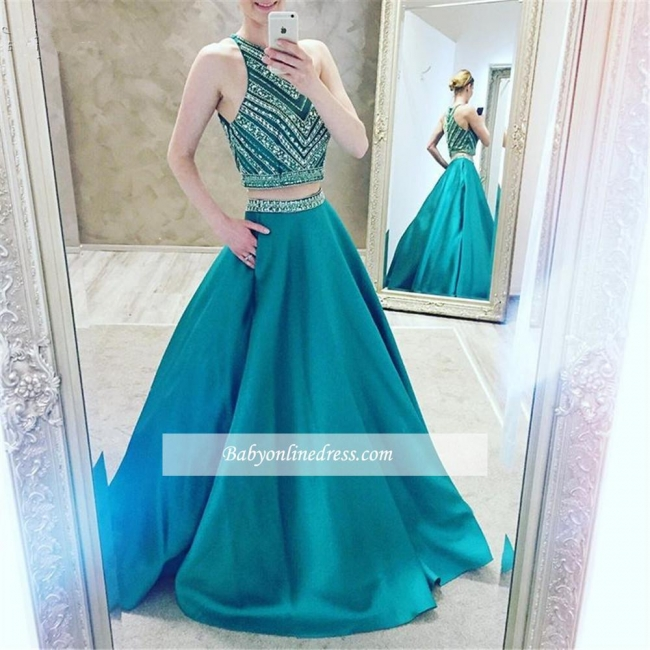 Luxury Two-Pieces Halter Evening Gowns 2018 Sleeveless A-Line Crystal Prom Dress