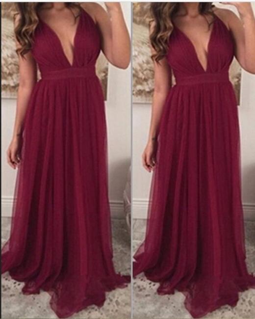 Chiffon Burgundy Prom Dresses Long V Neck Sleeveless Party Dresses