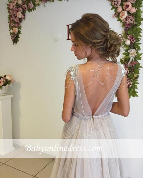 Tulle Flowers Sweep-Train Cap-Sleeve Beads A-line Modern Evening Dress