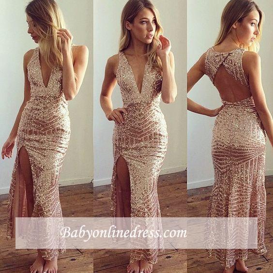Long V-Neck Shiny Sequins Open-Back Side-Split Prom Dresses