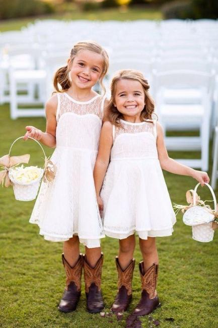 Modern White Illusion Sleeveless Lace Knee length A-line Flower-Girl Dress