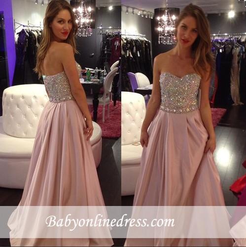 Elegant Pink Crystals Sweetheart-Neck A-line Long 2018 Prom Dresses