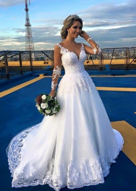 Long-Sleeve V-Neck Appliques A-Line Elegant Lace Wedding Dresses
