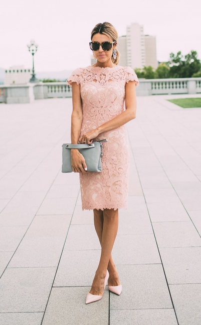 Chic Blushing Pink Party Dresses | Capped Short Sleeves Sheath Formal Dresses