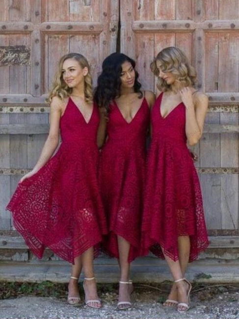 Sleeveless Tea-Length Spaghetti-Strap A-line Lace Bridesmaid Dress
