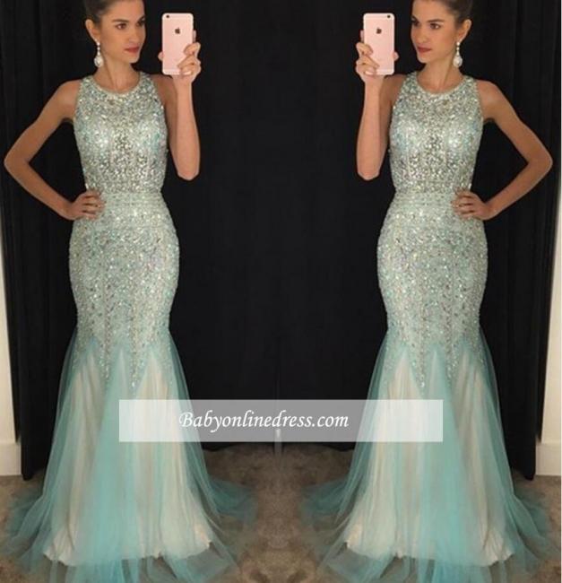 Luxury Crystal Mermaid Tulle Prom Dresses 2018 Scoop Sleeveless Evening Gowns BA4613