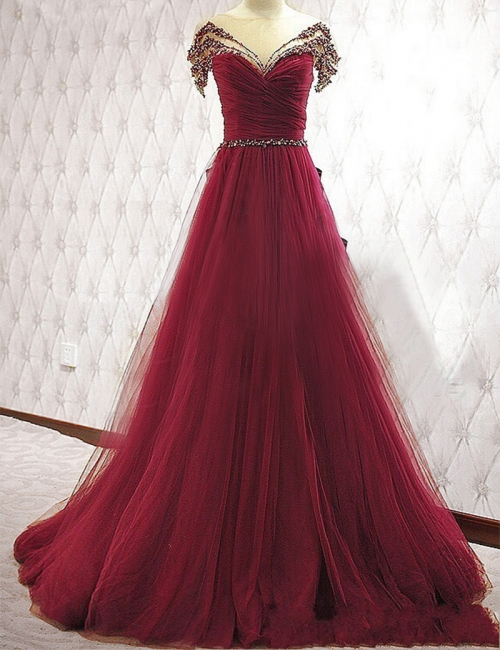 New Arrival Tulle A-line Prom Dresses Short Sleeves Crystal Evening Gowns