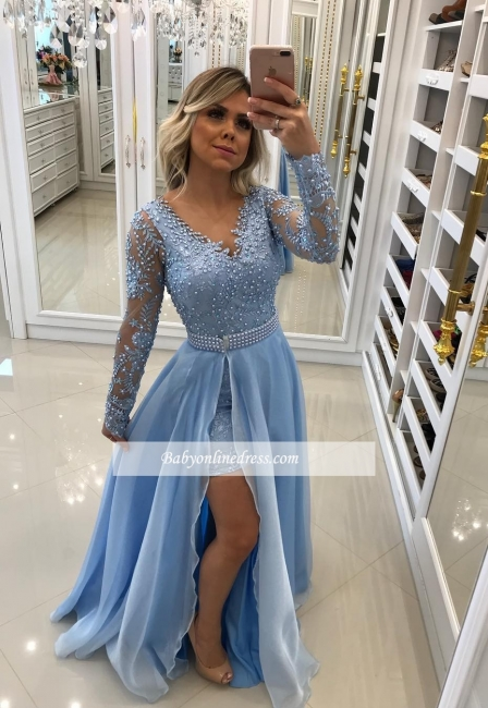 Chic Hi-Lo Prom Dresses | Long Sleeves Beading Evening Gowns