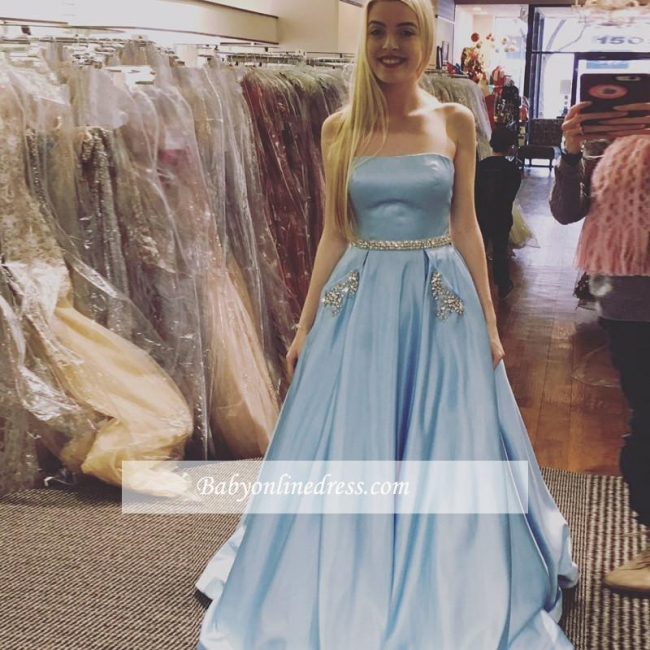 Newest Sleeveless A-line Strapless Crystals Sky-Blue Prom Dress