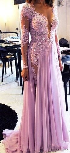 Lilac long Prom Dresses Long Sleeves Lace Beaded Chiffon Sexy Evening Gowns