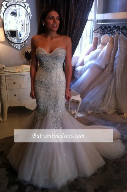 Elegant Sweetheart Mermaid Prom Dress 2018 Tulle Appliques Evening Gowns with Beadings