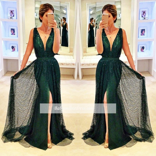 2018 Sexy Dark Green Sleeveless V-Neck Evening Gowns Sequined Front Split Prom Dress
