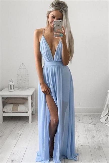 Sexy Deep V-neck Baby Blue Prom Dresses Chiffon Spaghetti Straps Maxi Dress