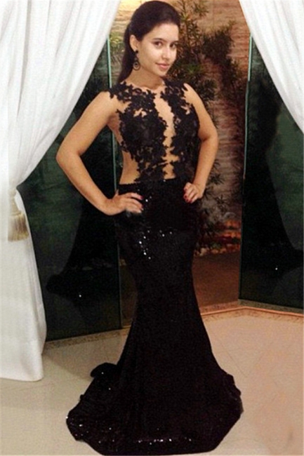 Black Lace Sequins Prom Dresses Mermaid Long Formal Dress