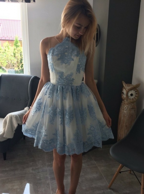 Chic Scoop Sleeveless A-Line Homecoming Dresses | Lace Appliques Short Cocktail Dresses
