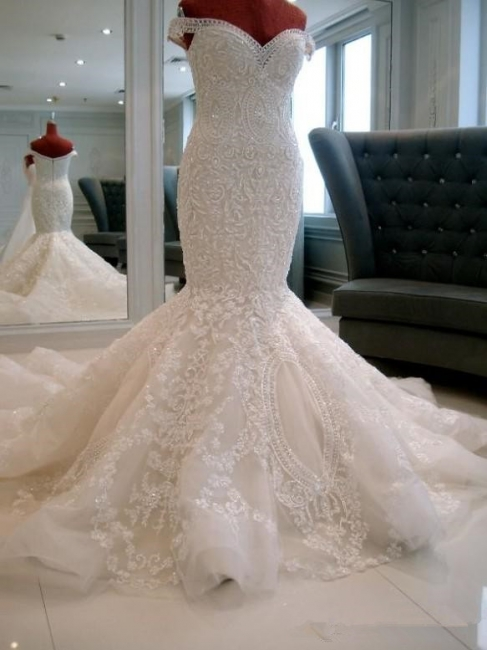 New Arrival Luxury Off Shoulder Pearls Appliques Lace Mermaid Wedding Dress