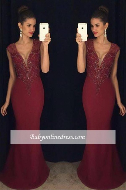 Beadings Gorgeous Burgundy Sleeveless Mermaid Prom Dress