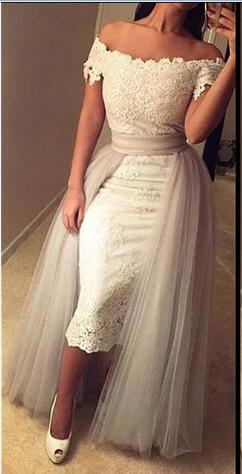 Mini Sheath Lace Off-the-Shoulder Prom Dress with Detachable Skirt