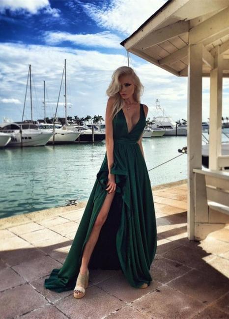 Elegant Long Split Green Prom Dresses V Neck Party Gown