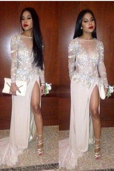 Sexy Chiffon Long Sleeves Prom Dress Backless Side Slit Evening Gowns