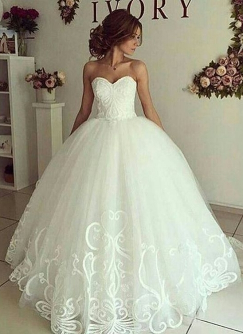 Elegant Ball-Gown Sweetheart-Neck Appliques Wedding Dresses