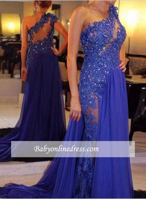 Elegant Royal Blue One-Shoulder Appliques Evening Gowns with Beadings
