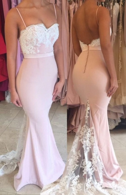 Cheap Mermaid Lace Spaghetti Straps Backless Buttons Formal Evening Dress
