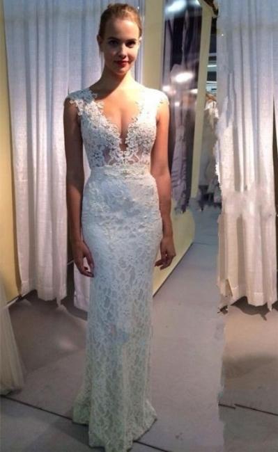 Modest Long Lace V-neck Wedding Dress Sleeveless Zipper Bridal Gowns
