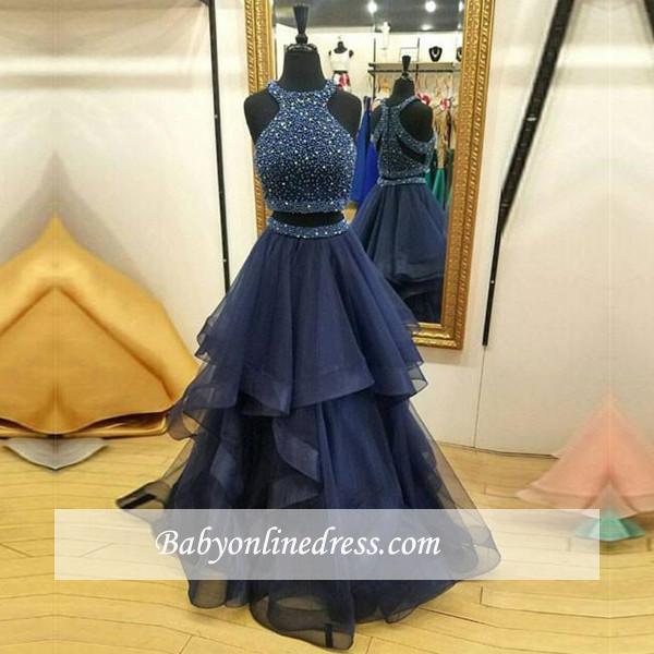 Jewel Two-Piece Sleeveless Ruffles Modest Zipper Crystals Prom Dress