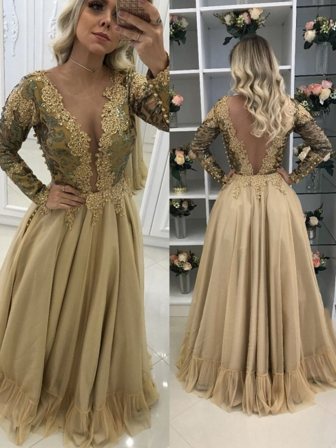 V-Neck Floor-Length Lace Sleeves Long Chic Prom Dresses